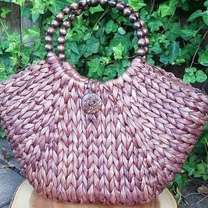 Straw bag with beaded handles vacation/boho style
